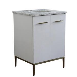 25 in. W x 22 in. D Single Bath Vanity in White with Marble Vanity Top in White Carrara with White Oval Basin