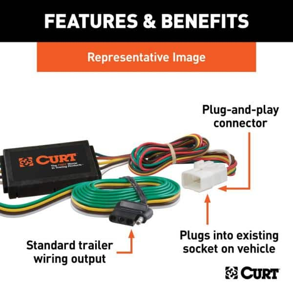 CURT Custom Vehicle-Trailer Wiring Harness, 4-Flat, Select Isuzu Trooper, Acura  SLX, OEM Tow Package Required, T-Connector-55339 - The Home Depot | Acura Slx Wire Harness |  | The Home Depot