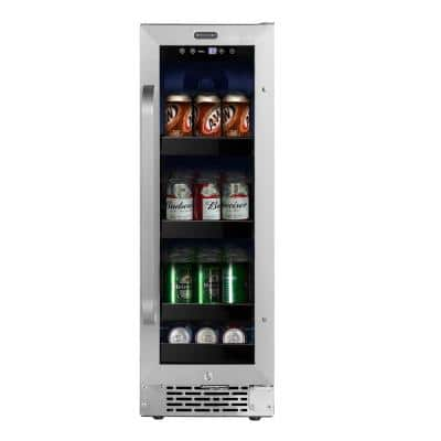 12 in. 20-Bottle Wine and 60-Can Beverage Cooler Undercounter Stainless Steel Refrigerator