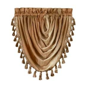 Ombre 42 in. L Polyester Window Curtain Waterfall Valance in Sandstone