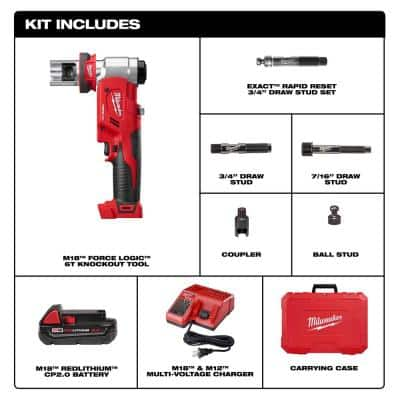 M18 18-Volt Lithium-Ion Cordless FORCE LOGIC 6 Ton Knockout Tool Kit w/(1) 2.0Ah Battery and Accessories