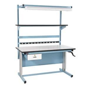 60 in. Light Blue/White Rectangular 1 -Drawer Standing Desk with Adjustable Height