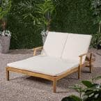 Perla Teak Brown 1-Piece Wood Outdoor Double Chaise Lounge with Cream Cushions