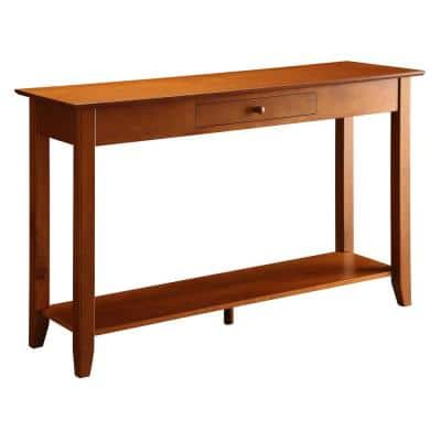 American Heritage 48 in. Cherry Standard Rectangle Wood Console Table with Drawers