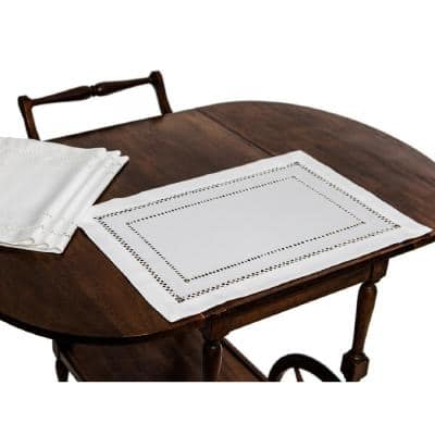 13 in. x 19 in. White Double Hemstitch Easy-Care Placemats (Set of 4)