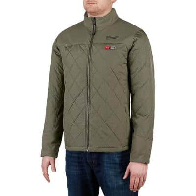Men's 2X-Large M12 12-Volt Lithium-Ion Cordless Olive Green Heated Quilted Jacket (Jacket Only)