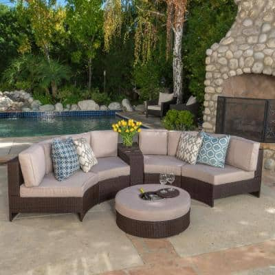 Madras Brown 6-Piece Wicker Outdoor Sectional Set with Textured Beige Cushions