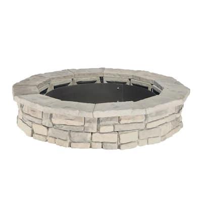 44 in. Random Stone Limestone Fire Pit Kit