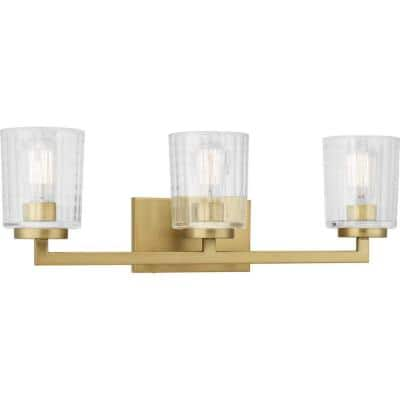 Westlyn 3-Light Brushed Brass Vanity Light with Clear Optic Glass Shades