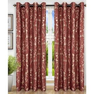 Cardinal Floral Grommet Room Darkening Curtain - 50 in. W x 84 in. L