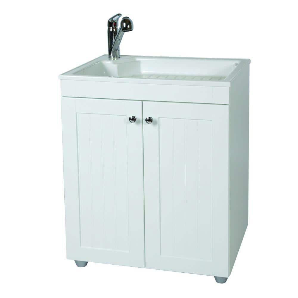 Glacier Bay All In One 27 In W X 34 In H X 22 In D Composite Laundry Sink With Faucet And Storage Cabinet Bc2732com Wh The Home Depot