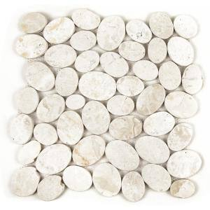 Pebble Marble Tile Off-White 11-1/2 in x 11-1/2 in x 9.5mm Mesh-Mounted Mosaic Tile (10.12 sq. ft. / case)
