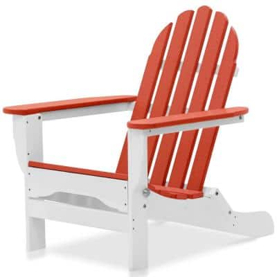 Icon White and Bright Red Plastic Folding Adirondack Chair