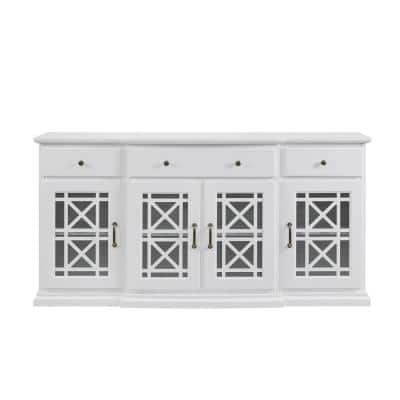 White Wood Transitional Sideboard with Fretwork Doors