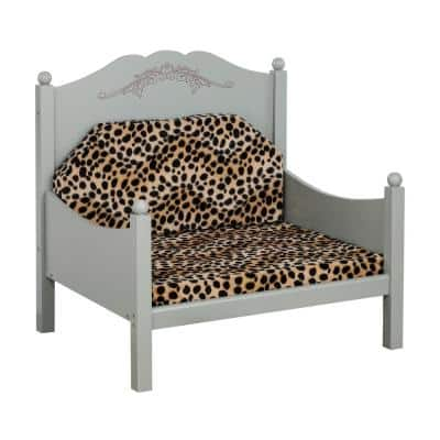Royal Medium Multi-Colored Plush Pet Bed with Headboard and Removable Cushion