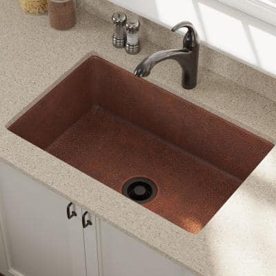 Undermount Copper 33 in. Single Bowl Kitchen Sink with Flange