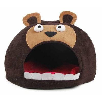 One-Size Dark Brown Roar Bear Snuggle Plush Polar Fleece Bed