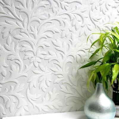 High Leaf Paintable Textured Vinyl White & Off-White Wallpaper Sample