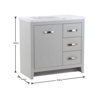 Blakely 37 in. W x 19 in. D Bath Vanity in Sterling Gray with Stone Effects Vanity Top in Lunar with White Sink