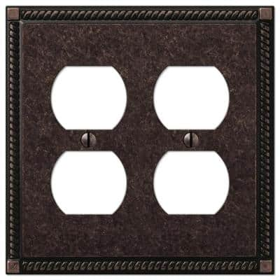 Georgian 2 Gang Duplex Metal Wall Plate - Tumbled Aged Bronze