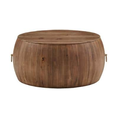 Natural Reclaimed Wood And Gold Ring Wine Barrel Coffee Table