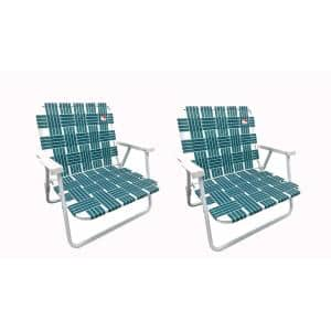 Green Low Profile Reinforced Steel Powder Coated Webbed Folding Lawn/Camp/Beach Chair (2-Pack)