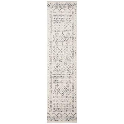 Tulum Ivory/Gray 2 ft. x 13 ft. Border Tribal Distressed Runner Rug
