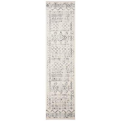 Tulum Ivory/Gray 2 ft. x 19 ft. Border Tribal Distressed Runner Rug