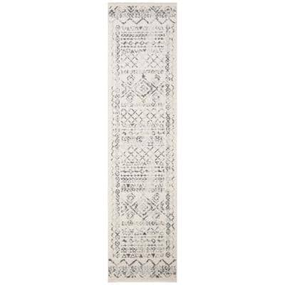 Tulum Ivory/Gray 2 ft. x 8 ft. Border Tribal Distressed Runner Rug
