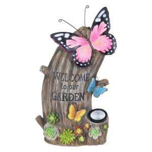 Solar Welcome Tree Stump with Butterflies and Succulents Garden Statue