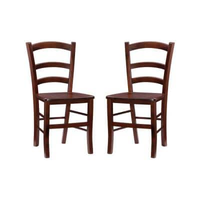 Doreen Walnut with Rush Seat Dining Side Chair (Set of 2)