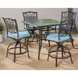 Traditions 5-Piece Aluminum Outdoor High Dining Set with Blue Cushions 4-Sling Swivel Chairs and Square Table