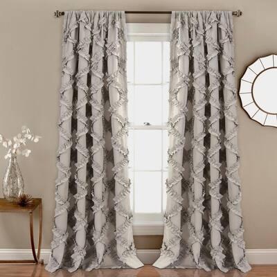 Gray Geometric Rod Pocket Room Darkening Curtain - 54 in. W x 84 in. L (Set of 2)
