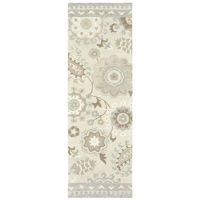 Caiden Ivory/Grey 2 ft. x 8 ft. Floral Runner Rug