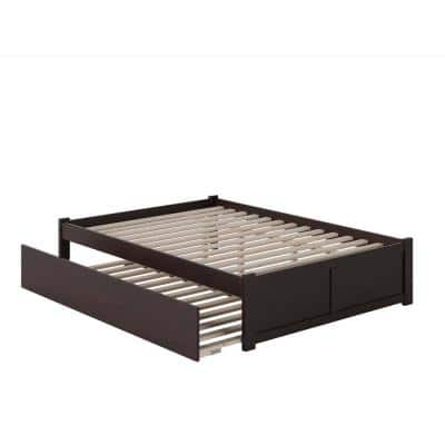 Concord Queen Bed with Footboard and Twin Extra Long Trundle in Espresso