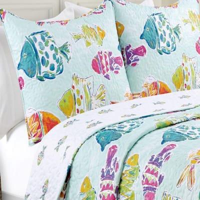 Marlin Fish Blue Multi Quilt Set