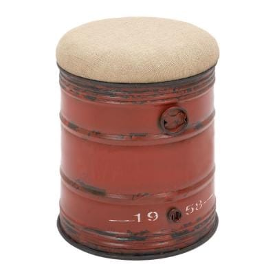 Litton Lane 14 In Red Wood Rustic Stool 69249 The Home Depot