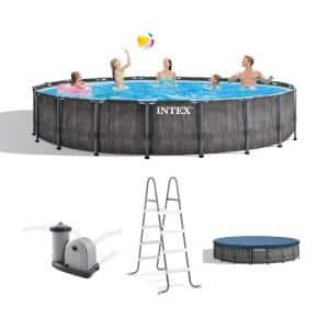 18 ft. Round 48 in. Deep Hard Side Greywood Prism Steel Frame Pool Set with Cover, Ladder, and Pump