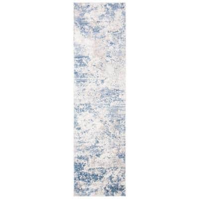 Amelia Gray/Blue 2 ft. x 12 ft. Abstract Runner Rug