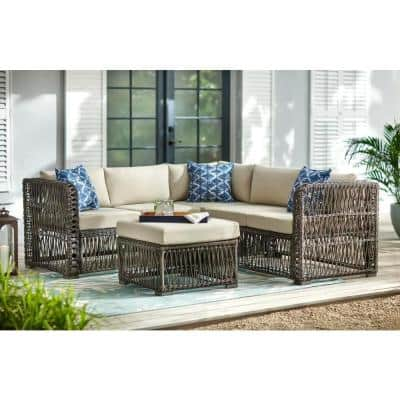 Grand Isle 4-Piece Wicker Outdoor Patio Sectional Seating Set with Beige Cushions