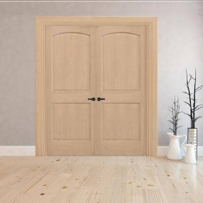 60 in. x 80 in. Universal Round Top Unfinished Red Oak Wood Double Prehung Interior French Door with Nickel Hinges