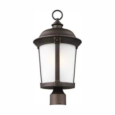 Calder 1-Light Outdoor Antique Bronze Post Light with LED Bulb