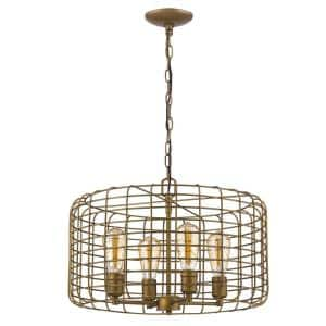 Lynden 4-Light Raw Brass Drum Pendant with Wire Cage Shade