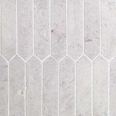 Belle White Elongated Hexagon 2 in. x 8 in. x 8mm Glazed Clay Wall Tile (81-Piece) (8.28 sq. ft./case)
