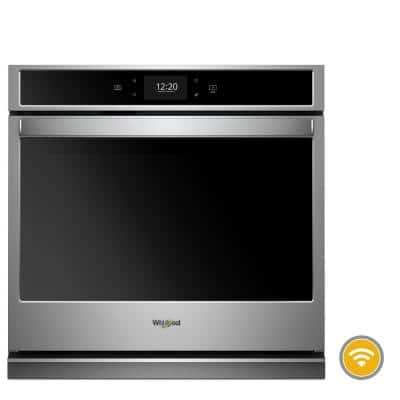 27 in. Smart Single Electric Wall Oven with True Convection Cooking in Black on Stainless Steel