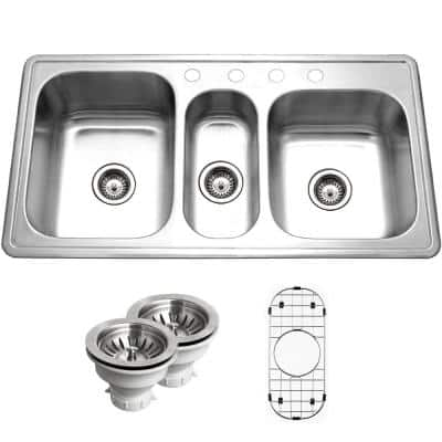 Premiere Gourmet Series Topmount Stainless Steel 41 in. 4-Hole Triple Bowl Kitchen Sink with Accessory Combo Pack