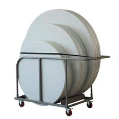 Commercial Heavy Duty 4-Wheeled Powder Coated Steel Round Table Trolley with locking wheels in Gray