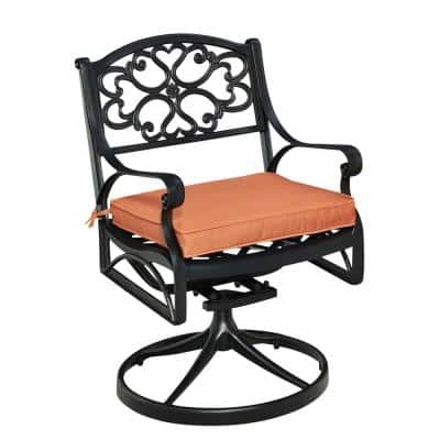 Sanibel Black Swivel Rocking Cast Aluminum Outdoor Dining Chair with Coral Chair Cushion