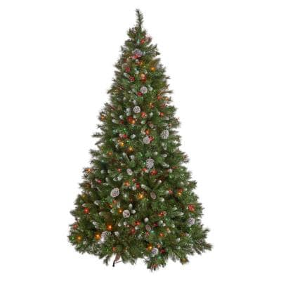 9 ft. Pre-Lit Mixed Spruce Hinged Artificial Christmas Tree with Multi-Colored Lights, Berries and Frosted Pinecones