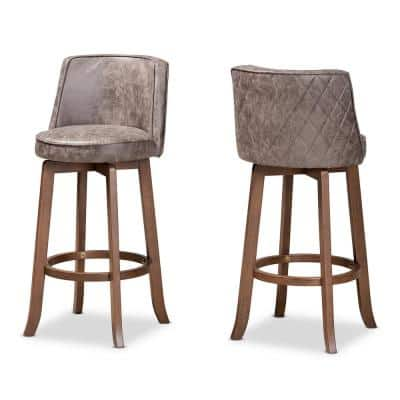 Adams 39.8 in. Grey and Walnut Brown Low Back Wood Bar Height Bar Stool (Set of 2)
